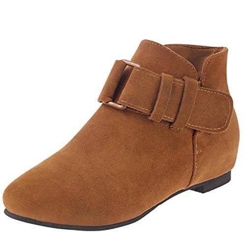 Mashiaoyi Women's Inner-increaser Block Heel Velcro Suede Chukka Boots Brown AhR6B05