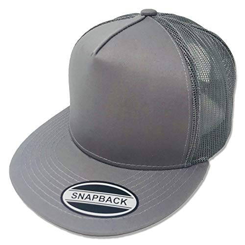 GREAT CAP Blank Trucker Hat - Classic Flat Bill Visor Baseball with Mesh Snapback for Hot Weather, Summer, Outdoor, Running, Car Driving, Vacation, Fishing, Sport, Daily - Heather Grey