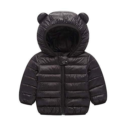 BSC007 Baby Boys Girls Winter Coats Hoods Light Puffer Down Jacket Outwear Black Baby Boy Winter Coats