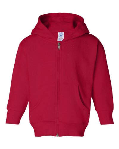 Rabbit Skins Toddler's 7.5 Oz. Full-Zip Fleece Hood, 4T, Red