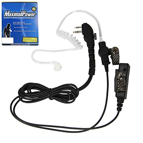 (MaximalPower Clear Coil Tube Earbud Headset PTT Mic w/Kevlar HYTERA 2-Pin Plug with)