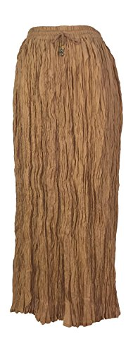 IK Collections Long Solid Color Broom Skirt (Light Brown) (Solid Crinkle Skirt)