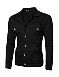 uxcell Men Turn Down Collar Chest Flap Pockets Classic Jeans Denim Jacket