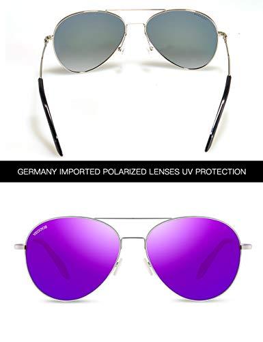Miroir Métal Violet Polarisées Mode Aviateur Classique Lunettes Lentille Cadre VEGOOS 3090 Argenté Reflété Cadre Lentilles Femme Soleil de q8H1P4