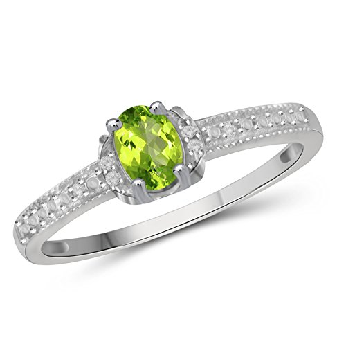 Stone Genuine Ring Peridot (Jewelexcess 0.50 CTW Genuine Peridot Gemstone & 1/20 CTW White Diamond Ring in Sterling Silver)