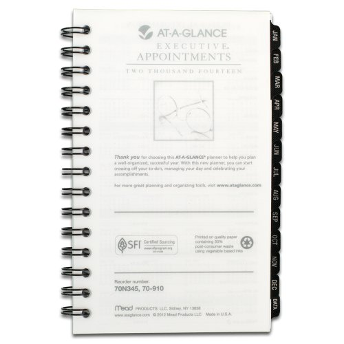 AT-A-GLANCE 2014 Executive Weekly and Monthly Appointment Book Refill for 70-N345, 70-NL45 and 70-345 (70-910-10)