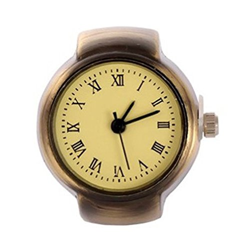 Vintage Ring Watch - DreamsEden Round Fashion Roman Numerals Finger Watch with Gift Box and Greeting Card (Bronze)