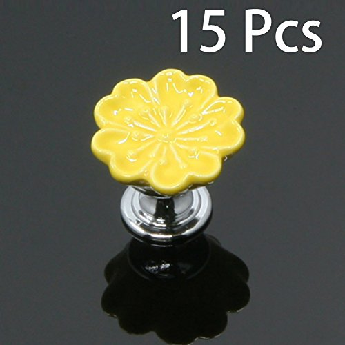 SunKni 32mm 15 Pack Cabinet Knobs / Ceramic Pulls / Dresser Drawer Handles / Flower Floral Knobs for Furniture Closet Wardrobe Kitchen Cupboard Bathroom Nursery New Set with Screws 15Pcs (Yellow) - Yellow Flower Drawer Pull