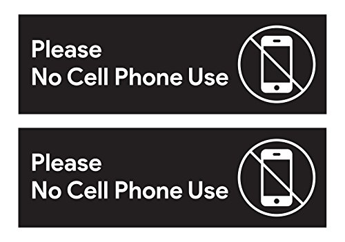 Please No Cell Phone Use Sticker Signs | Workplace Safety Signage for Cafe Counters, Registers, Vehicle Loading Areas, Gas Stations, and Restaurants (Cell Phone Icon)
