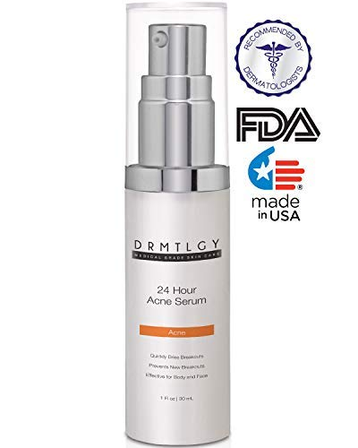 DRMTLGY Acne Spot Treatment and Cystic Acne Treatment. Acne Serum with Micronized Benzoyl Peroxide 5 and Glycolic Acid -