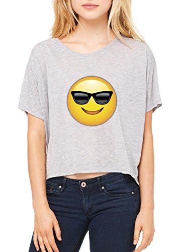 Emoji T-Shirt Emoji With Sunglasses Birthday Gift Womens Shirts Flowy - Sunglasses Neon Printed