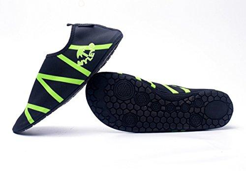 Panegy - Zapatos Calcetines de Agua para Deportes Acuáticos Surf Natación Buceo Yoga para Hombre Mujer Skin Shoes Slip On Barefoot Antideslizantes al aire libre - Verde Naranja - Talla EU 36-44 Verde