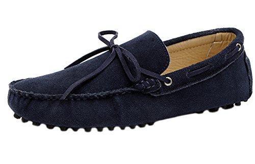 Aisun Trendy Herenlederen Loafers In Leer, Donkerblauw