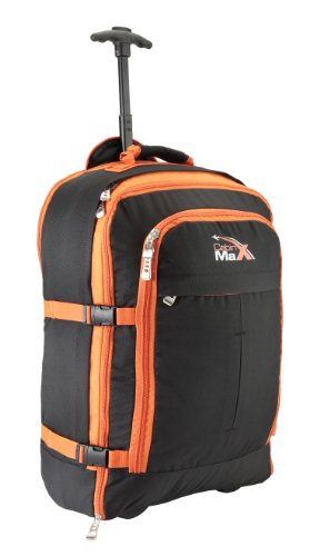 Cabin Max Malmo Flugzugelassenes Handgepäck Rucksack Tasche - 44L Mehfunktional Rollengepäck (Black/Green) Black/Orange L4NkI