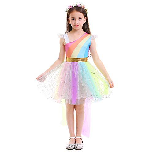 Girls Kids Unicorn Rainbow Costume Ball Gown Flower Halloween Party High Low One Shoulder Fancy Dress Up Tutus Rainbow 7-8 Years