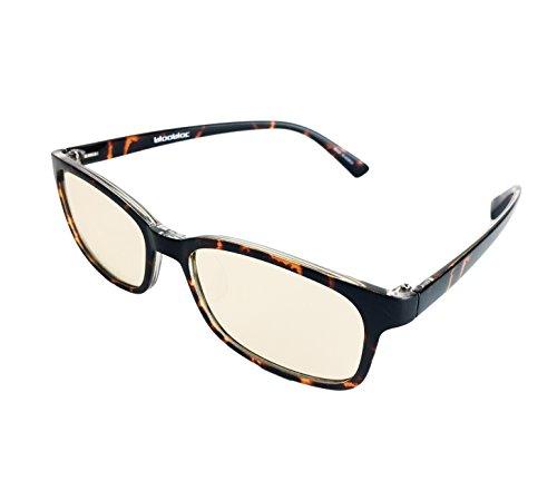 (bloobloc Melanin Computer Reading Gaming Glasses - Anti-Blue Light, Anti-Glare & Computer UV Radiation Safety Glasses - Reduce Eye Strain & Fatigue - Rectangle Flexible Frames Unisex (Tortoise Shell))
