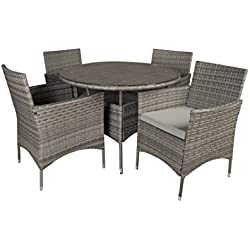 Outdoor Patio Table and Chairs Dining furniture Set (Grey)
