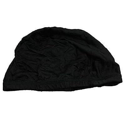 Adulte Elastic Band Chef Polyester Bonnet de bain noir