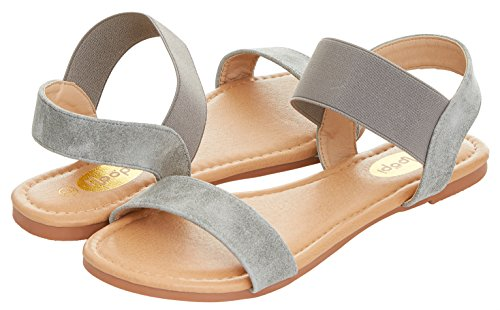 Floopi Womens Summer Flat Sandals Open Toe Wide Elastic Strap Sandal (9, Grey-508) Gray Womens Sandals