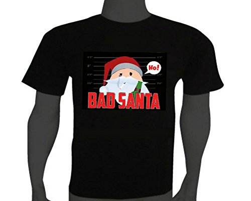 Stylish Sound Activated LED Christmas T-Shirt Bad Santa Size XL Black