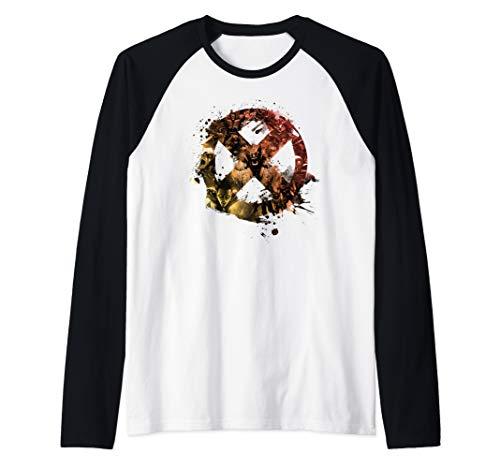 - Marvel X-Men Character Fill Paint Splatter Logo Raglan Baseball Tee