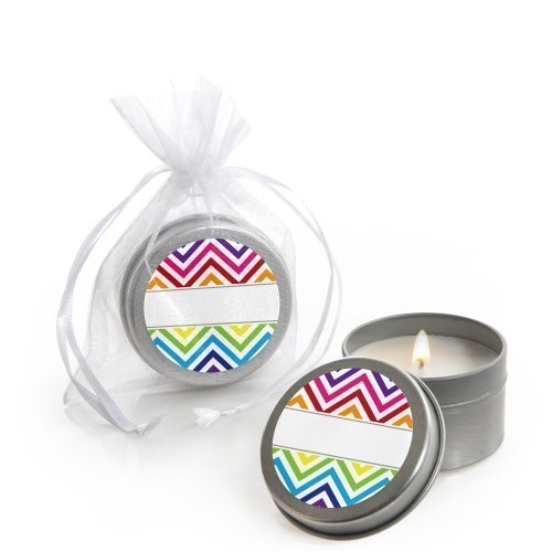 Chevron Rainbow - Candle Tin Party Favors - Set of 12