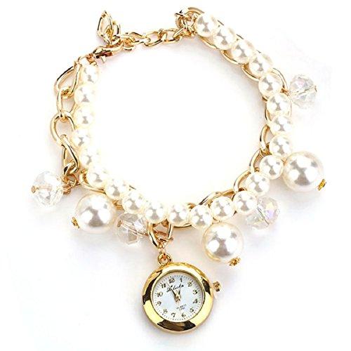Doinshop Women Artificial Pearl Wristwatch Rhinestone Quartz Bracelet Watches