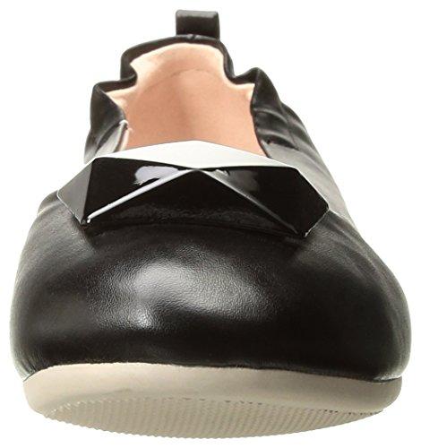 Olive-08 faltbare Ballerina mit elastischer Ferse und geometrischen schwarz Ornament - Vintage - (EU 38 = US 8) - Pin Up Couture