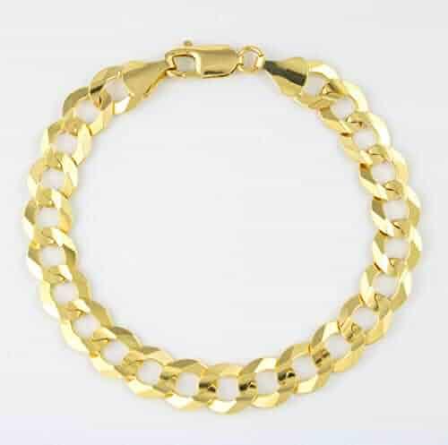 Men's 10k Yellow Gold Solid 10mm Cuban Curb Chain Bracelet, 8