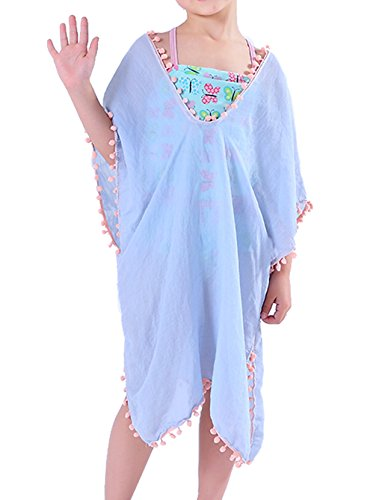 MissShorthair Fashion Girls Cover-ups Swimsuit Wraps Beach Dress Top with Pompom Tassel, One Size,3 Sky