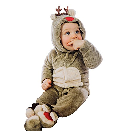 Reindeer Outfits For Babies (Baby Newborn Reindeer Xmas Footed Romper Christmas Costume Outfit (0-3M))