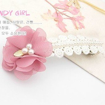 usongs rts genuine multi-petal Rose pink fabric flower pearl beaded lace top folder hairpin spring clip