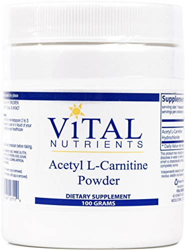 Vital Nutrients Acetyl L Carnitine Powder Supports Normal Brain Function Vegetarian 100 Grams