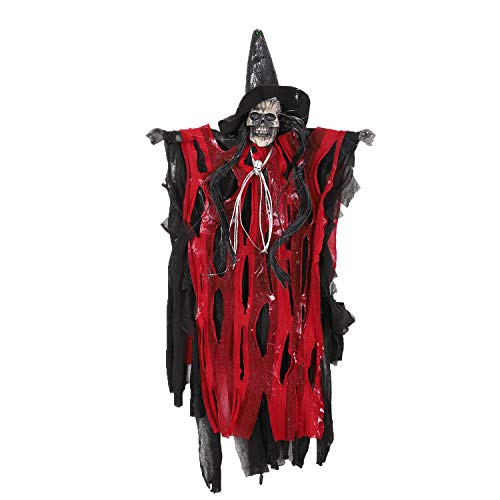 2.3ft Flying Ghost with Sounds Responded Hanging Animated Grim Reaper Skull Skeleton Props Vampire Halloween Decoration (Red) -