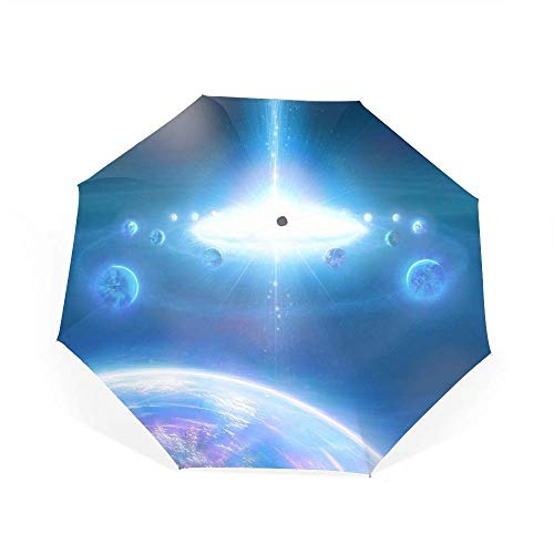 Automatic Compact Travel Umbrella with Reverse and Safe Lock Design, Teflon Auto Open Close Folding Strong Windproof Dazzle Light Galaxies Umbrella,99% UV Protection