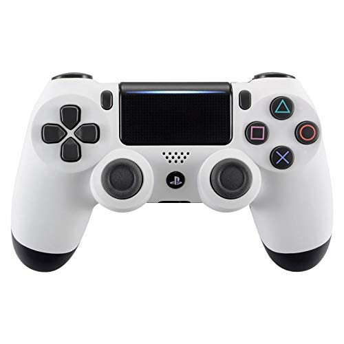 (eXtremeRate Soft Touch Front Housing Shell Cover Faceplates for Playstation 4 PS4 Pro Slim Controller CUH-ZCT2 JDM-040 JDM-050 JDM-055 - White)