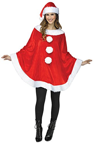 Lady Santa Outfit (UHC Women's Santa Poncho Plush Outfit w/ Hat Holiday Theme Christmas Costume, OS (4-14))