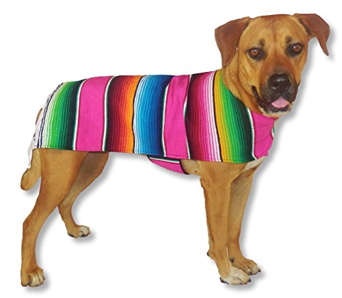 Anxiety Wraps For Dogs - Handmade Dog Poncho from Authentic Mexican Blanket by Baja Ponchos (Pink Fringed Edge, (Cute Betty Boop Halloween Costumes)