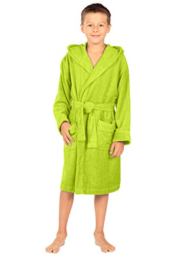 Texere Boy's Hooded Terry Cloth Bathrobe (Lime Punch, Medium) for Kids BB0101-LMP-M