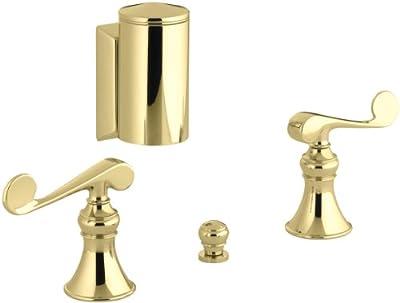 KOHLER K-16137-4-PB Revival Below-The-Rim Horizontal Swivel Spray Bidet Faucet with Scroll Lever Handles, Vibrant Polished Brass