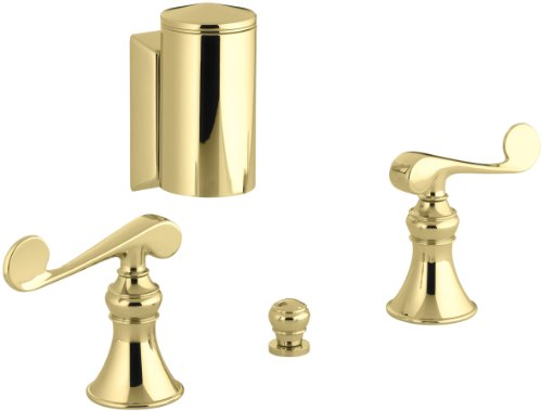 KOHLER K-16137-4-PB Revival Below-The-Rim Horizontal Swivel Spray Bidet Faucet with Scroll Lever Handles, Vibrant Polished Brass