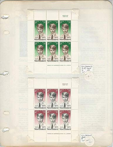 - New Zealand Collection, 1973 Stamp Blocks, Sheets, FDC, B87-8 Prince Edward