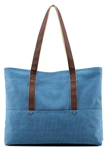 Women Top Handle Satchel Handbags Shoulder Bag Messenger Tote Bags Purse (Blue) by PlasMaller