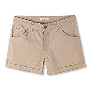 Vetemin Women's Stretch comfy Fitted 5-pocket Cuffed Casual Walking Chino shorts