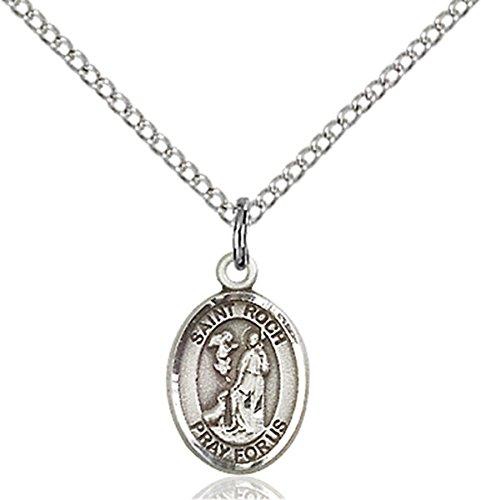 Sterling Silver Saint Roch Petite Charm Medal, 1/2 (Roch Medal Charm Pendant)