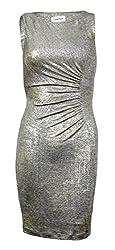 Calvin Klein Womens Petites Ruched Metallic Cocktail Dress Gold 0P
