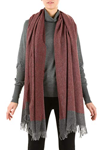 Soft Framed Pattern Fringed Wool Stole Shawl Scarf - Made In Italy