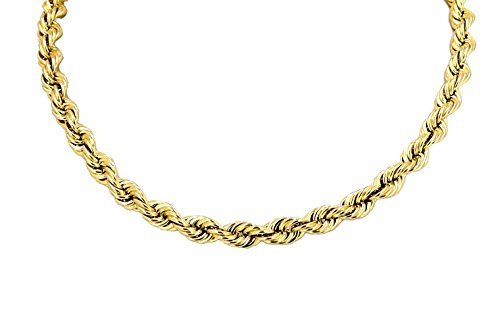 Real 10K Yellow Gold Hollow Rope Chain Necklace 4.0MM 18'' to 26'' (22 Inches) by Hollow Rope Chain