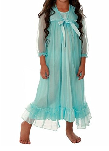 Laura Dare Girls Frozen Blue Princess Peignoir Set Includes Nightgown and Sheer Ruffle Robe
