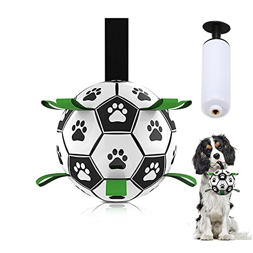 DADYPET Dog Toys Soccer Ball with Grab Tabs, Durable Interactive Dog Indoor Outdoor Toys Jolly Balls for Dogs, Dog Tug Toy for Small & Medium Dogs (6Inch with Pump)